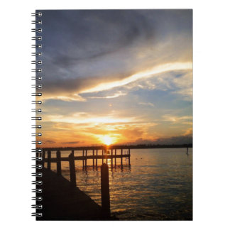Sun Setting on the Gulf of Mexico from the Dock Notebook