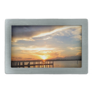 Sun Setting on the Gulf of Mexico from the Dock Rectangular Belt Buckle