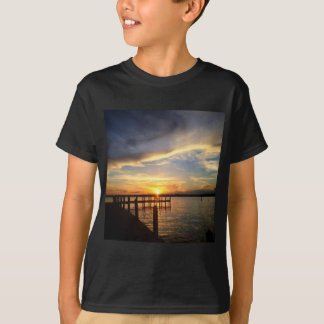 Sun Setting on the Gulf of Mexico from the Dock T-Shirt