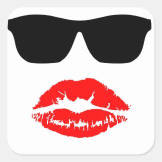 Sun Shades and Lipstick Kiss Square Sticker