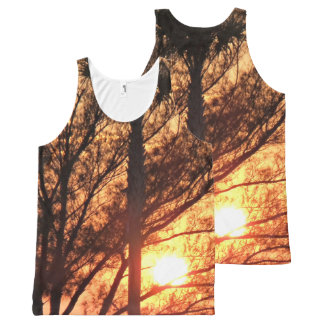 Sun Shining Through Palm Trees All-Over Print Tank Top