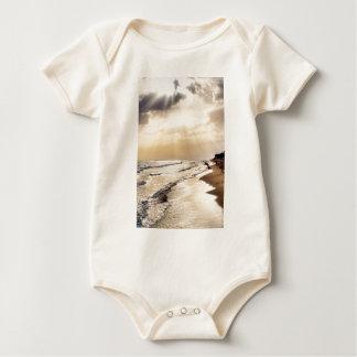 Sun Shining through the Clouds onto Beach Waves Baby Bodysuit