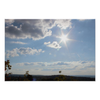 Sun Shining Through the Clouds Poster