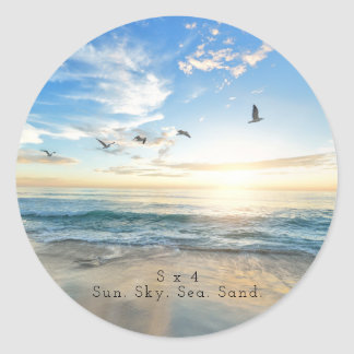 Sun. Sky. Sea. Sand. Beach Scene Classic Round Sticker