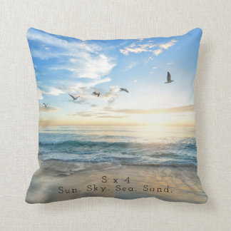 Sun. Sky. Sea. Sand. Beach Scene Cushion