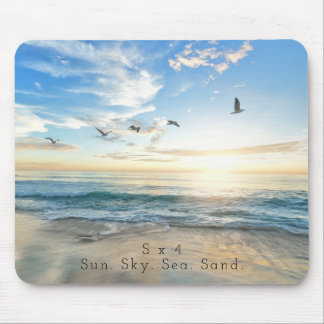 Sun. Sky. Sea. Sand. Beach Scene Mouse Pad