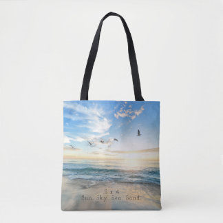 Sun. Sky. Sea. Sand. Beach Scene Tote Bag