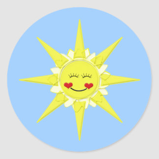 sun smiley face envelope seals classic round sticker