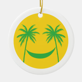 sun smiley with palm trees and hammock ceramic ornament