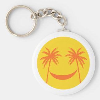 sun smiley with palm trees and hammock keychains