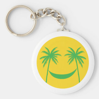 sun smiley with palm trees and hammock key chain