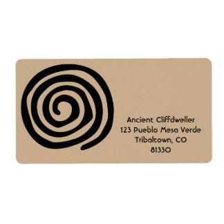 Sun Spiral Native American Tribal Rock Art Shipping Label