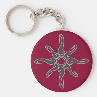 Sun Spot Tribal Glyph Symbol Basic Round Button Key Ring