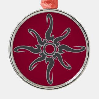 Sun Spot Tribal Glyph Symbol Silver-Colored Round Decoration