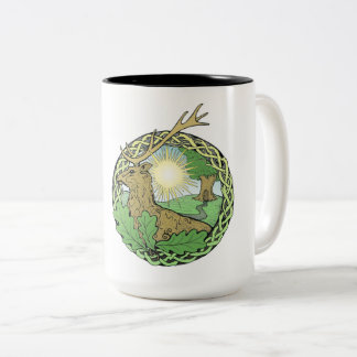 Sun, stag & oak Two-Tone coffee mug