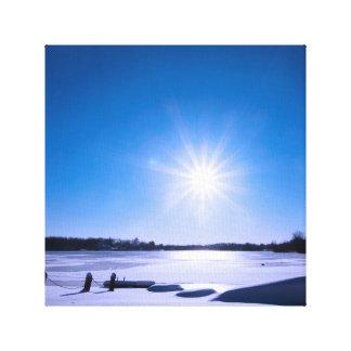 Sun Star on Lake Photograph Canvas Print