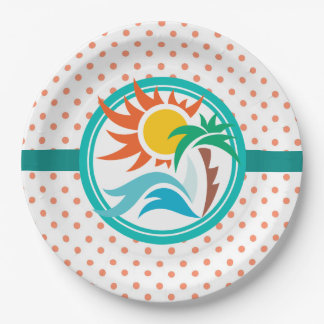 Sun & Surf (Orange Dots) Paper Plate