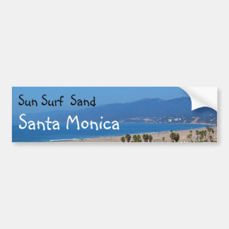 Sun Surf Sand Santa Monica bumpersticker Bumper Sticker
