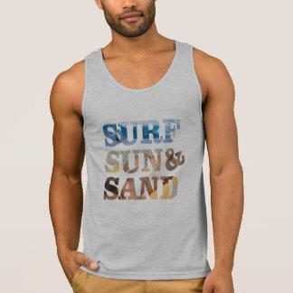 sun, surf sand summer beach tank top design