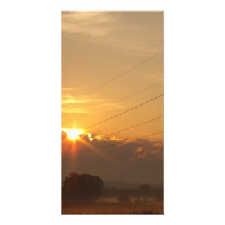 Sun surfaces above the clouds over foggy Pasture Photo Greeting Card