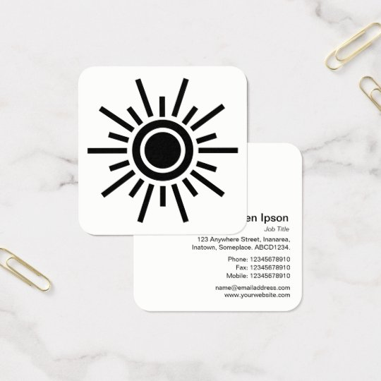 Sun Symbol 01 - Black Square Business Card