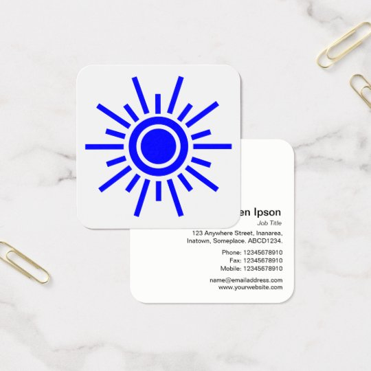 Sun Symbol 01 - Blue on White Square Business Card