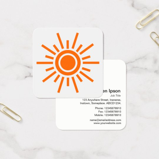 Sun Symbol 01 - Orange on White Square Business Card