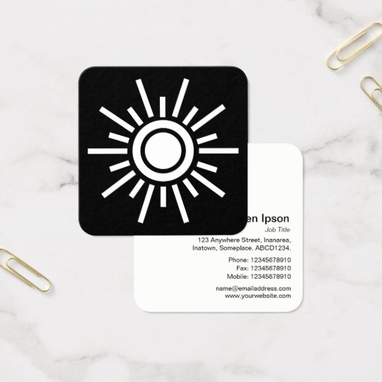 Sun Symbol 01 - White on Black Square Business Card