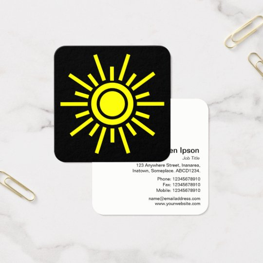Sun Symbol 01 - Yellow on Black Square Business Card
