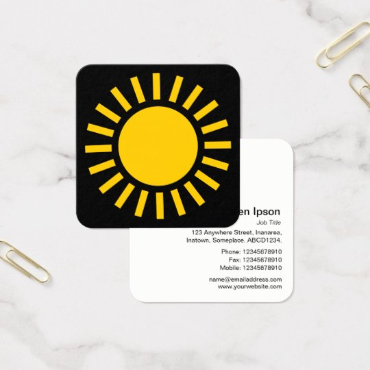 Sun Symbol 02 - Amber on Black Square Business Card