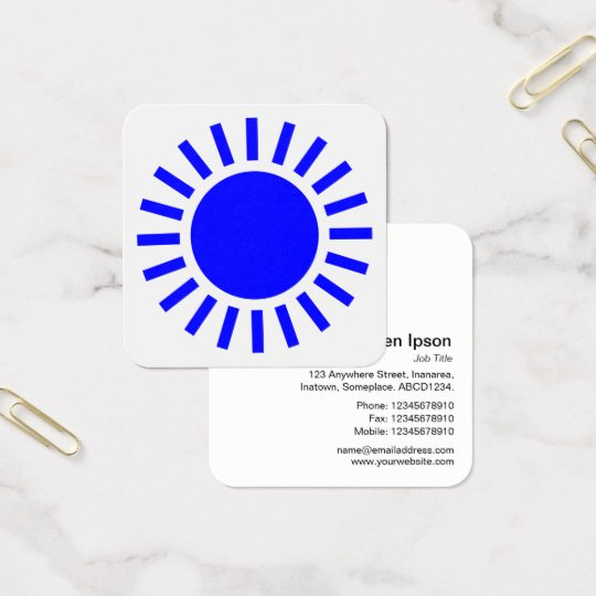 Sun Symbol 02 - Blue on White Square Business Card