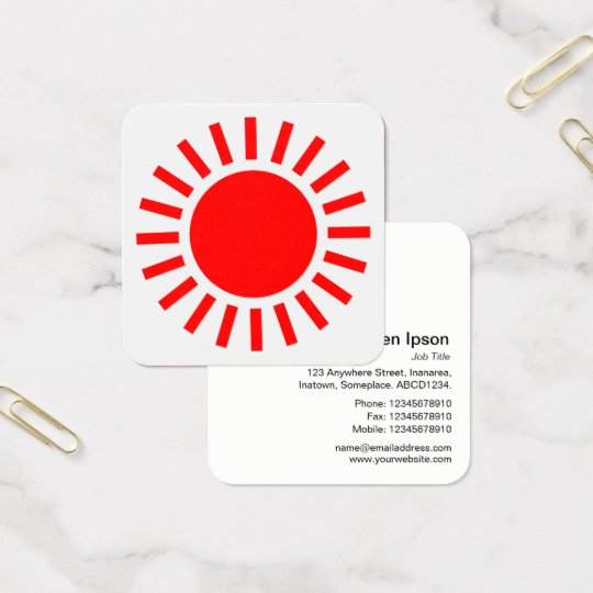 Sun Symbol 02 - Red on White Square Business Card