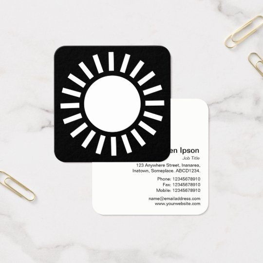 Sun Symbol 02 - White on Black Square Business Card