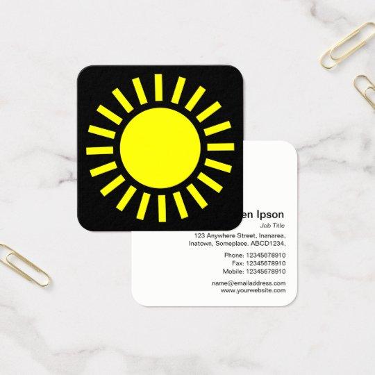 Sun Symbol 02 - Yellow on Black Square Business Card