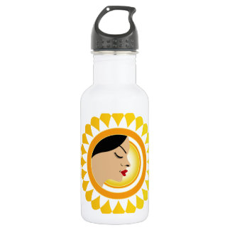 Sun tan- A face with a bright yellow sun 532 Ml Water Bottle