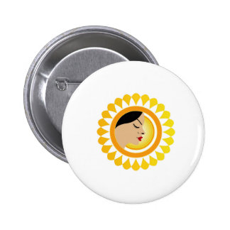 Sun tan- A face with a bright yellow sun Pins