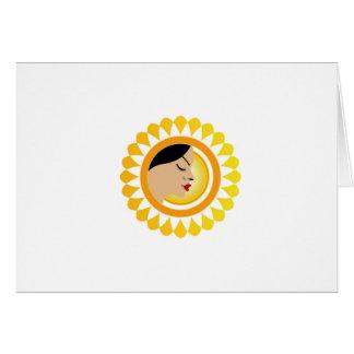 Sun tan- A face with a bright yellow sun Greeting Card