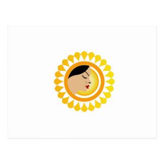 Sun tan- A face with a bright yellow sun Postcard