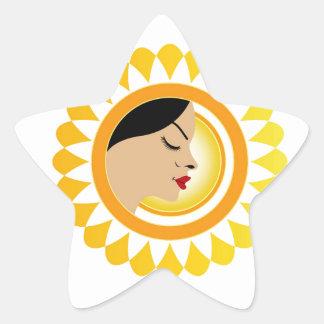 Sun tan- A face with a bright yellow sun Star Sticker