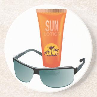 Sun Tan Lotion Drink Coasters