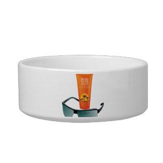 Sun Tan Lotion Cat Water Bowls