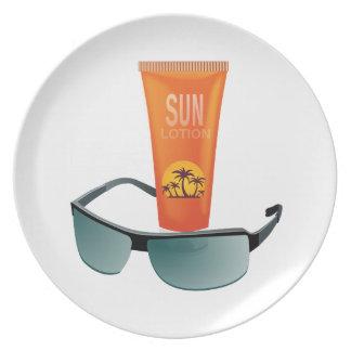 Sun Tan Lotion Dinner Plates