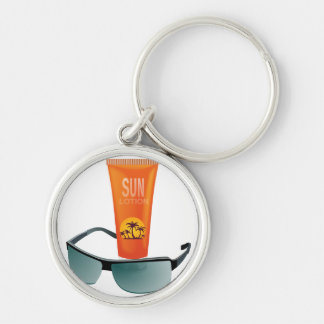 Sun Tan Lotion Silver-Colored Round Key Ring
