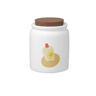 Sun Tan Lotion Candy Jars