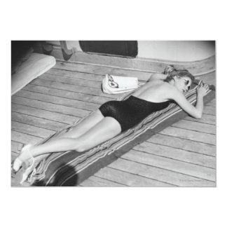 Sun Tanning Woman 13 Cm X 18 Cm Invitation Card