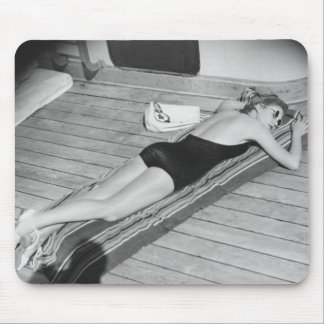 Sun Tanning Woman Mouse Pad
