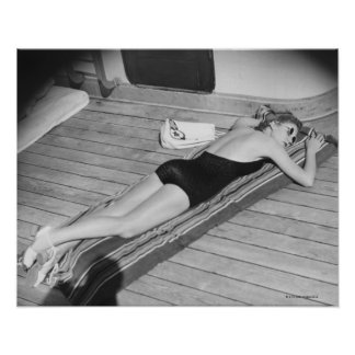 Sun Tanning Woman Posters