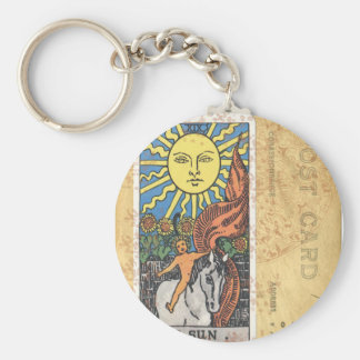 Sun Tarot Card Vintage Postcard Fortune Teller Basic Round Button Key Ring