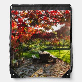Sun through autumn leaves, Croatia Drawstring Bag