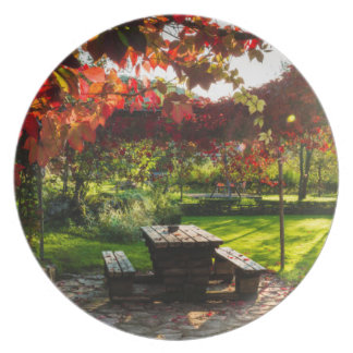Sun through autumn leaves, Croatia Plate